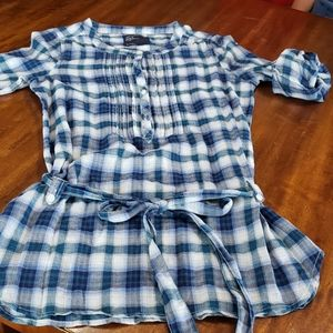 American Eagle Shirt Dress Belted Tunic Plaid Blue